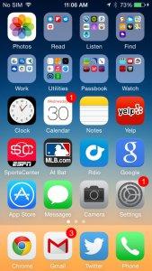 Pantalla de inicio del Smartphone iPhone